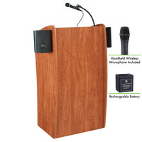 Oklahoma Sound M611-S/LWM-5 Wild Cherry Finish Vision Lectern with Sound, Wireless Handheld Microphone, and Rechargeable Battery