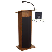 Oklahoma Sound M111PLS-MO Medium Oak Power Plus Lectern with Sound and Rechargeable Battery