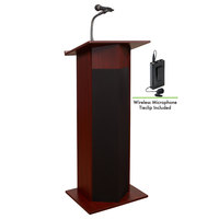 Oklahoma Sound 111PLS-MY/LWM-6 Mahogany Power Plus Lectern with Sound and Wireless Tie-Clip Microphone