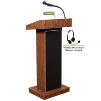 Oklahoma Sound 800X-MO/LWM-7 Medium Oak Finish Orator Lectern with Sound and Wireless Headset Microphone