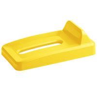 Rubbermaid 2018274 Slim Jim Yellow Recycling Bin Lid With Paper Slot And Vertical Billboard
