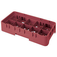 Cambro 10HS638416 Cranberry Camrack 10 Compartment 6 7/8 inch Half Size Glass Rack