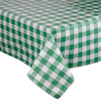 Intedge 52 inch x 52 inch Green Checkered Gingham Vinyl Table Cover with Flannel Back