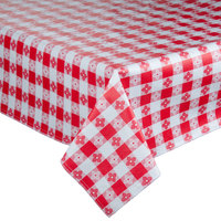 Intedge 52 inch x 52 inch Red Checkered Gingham Vinyl Table Cover with Flannel Back