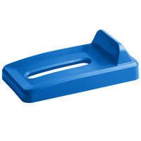 Rubbermaid 2018276 Slim Jim Blue Recycling Bin Lid With Paper Slot And Vertical Billboard