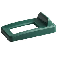 Rubbermaid 2018220 Slim Jim Green Recycling Bin Lid With Open Top And Vertical Billboard