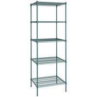 Regency 24 inch x 30 inch NSF Green Epoxy 5-Shelf Kit with 86 inch Posts