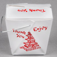 Fold-Pak 08WHPAGODM 8 oz. Pagoda Chinese / Asian Paper Take-Out Container with Wire Handle   - 1000/Case