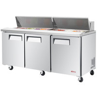 Turbo Air EST-72-N E-line 72 5/8 inch 3 Door Refrigerated Sandwich Prep Table