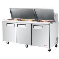 Turbo Air EST-72-30-N E-line 72 5/8 inch 3 Door Mega Top Refrigerated Salad Prep Table