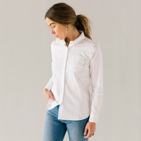 Stock Mfg. Co. Women's White Long Sleeve Oxford Shirt - Size 2XL