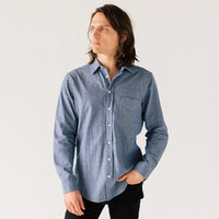 Stock Mfg. Co. Men's Blue Long Sleeve Chambray Shirt - Size 2XL