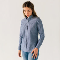 Stock Mfg. Co. Women's Blue Long Sleeve Chambray Shirt - Size 2XL