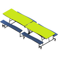 National Public Seating MCTB12-PWTMPC 12' Plywood Mobile Cafeteria Table with Powder Coated Black Frame and Vinyl T-Molding