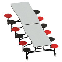 National Public Seating MCTS12-MDPEPC 12' MDF Curve Cafeteria Table with Powder Coated Black Frame, ProtectEdge, and 12 Stools