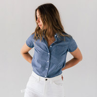 Stock Mfg. Co. Women's Blue Short Sleeve Chambray Shirt - Size 2X