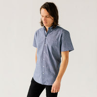 Stock Mfg. Co. Men's Blue Short Sleeve Chambray Shirt - Size 2XL