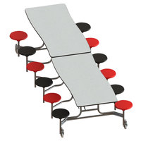 National Public Seating MCTS12-PWTMCR 12' Plywood Curve Cafeteria Table with Chrome Frame, Vinyl T-Molding, and 12 Stools