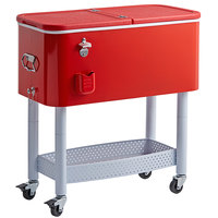 Choice 65 Qt. Red Beverage Cooler Cart - 31 1/8 inch x 15 3/8 inch x 32 11/16 inch