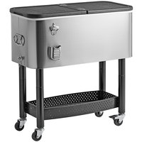 Choice 65 Qt. Stainless Steel Beverage Cooler Cart - 31 1/8 inch x 15 3/8 inch x 32 11/16 inch