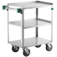 Regency 16 inch x 27 inch Three Shelf 20-Gauge Stainless Steel Utility Cart - Assembled