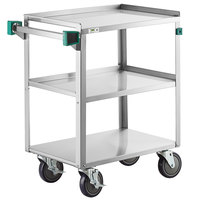 Regency 16 inch x 27 inch Three Shelf 20-Gauge Stainless Steel Utility Cart - Knocked Down