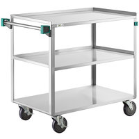 Regency 22 inch x 39 inch Three Shelf 18-Gauge Stainless Steel Utility Cart - Assembled