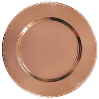 The Jay Companies 1810201-4 13 inch Copper Metal Charger Plate with Beaded Rim