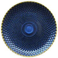 The Jay Companies 1875007 13 inch Blue Glass Charger Plate with Gold Rim