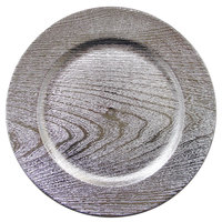 The Jay Companies 1270338-4 13 inch Silver Wood Grain Plastic Charger Plate