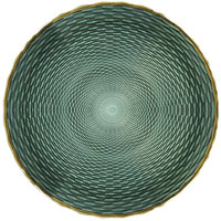The Jay Companies 1875006 13 inch Green Glass Charger Plate with Gold Rim