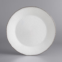 The Jay Companies 1470457 13 inch Round Clear Glass Charger Plate with Platinum Rim