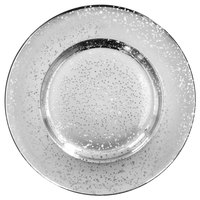 The Jay Companies 1875012 13 inch Silver Speckled Glass Charger Plate