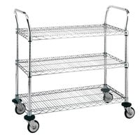 Metro MW703 Super Erecta 18 inch x 30 inch x 38 inch Three Shelf Standard Duty Chrome Utility Cart