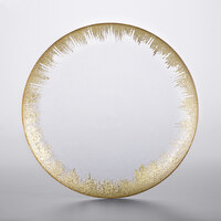 The Jay Companies 1875008 13 inch Selene Clear Glass Charger Plate with Gold Rim