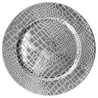 The Jay Companies 1270574-4 13 inch Croc Silver Polypropylene Electroplated Charger Plate