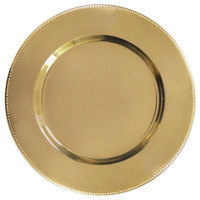 The Jay Companies 1810202-4 13 inch Gold Metal Charger Plate with Beaded Rim