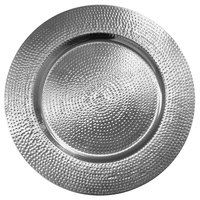 The Jay Companies 1810198-4 13 inch Silver Metal Hammered Charger Plate