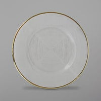 The Jay Companies 1875015 13 inch Clear Glass Charger Plate with Gold Weave Rim