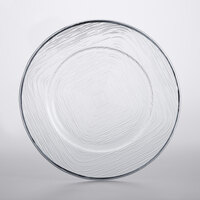 The Jay Companies 1875016 13 inch Clear Glass Charger Plate with Silver Weave Rim