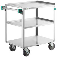 Regency 19 inch x 31 inch Three Shelf 18-Gauge Stainless Steel Utility Cart - Assembled