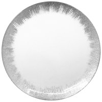 The Jay Companies 1875009 13 inch Selene Clear Glass Charger Plate with Silver Rim