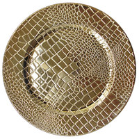 The Jay Companies 1270573-4 13 inch Croc Gold Polypropylene Electroplated Charger Plate