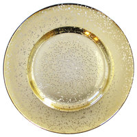The Jay Companies 1875011 13 inch Gold Speckled Glass Charger Plate