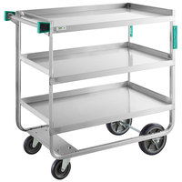 Regency 22 inch x 39 inch Three Shelf 18-Gauge Stainless Steel U-Channel Cart - Assembled