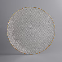 The Jay Companies 1470454 13 inch Clear Glass Charger Plate with Gold Rim