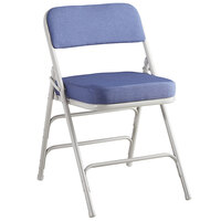 Lancaster Table & Seating Blue Fabric Folding Chair with 2 inch Padded Seat