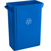 Lavex Janitorial 16 Gallon Blue Slim Recycle Bin
