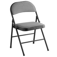 Lancaster Table & Seating Black Fabric Folding Chair with Padded Seat