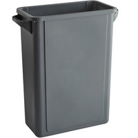 Lavex Janitorial 16 Gallon Gray Slim Rectangular Trash Can